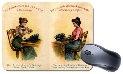 Vintage Typewriter Advert Mouse Mat. Typing Advertising Novelty Office Mouse Pad